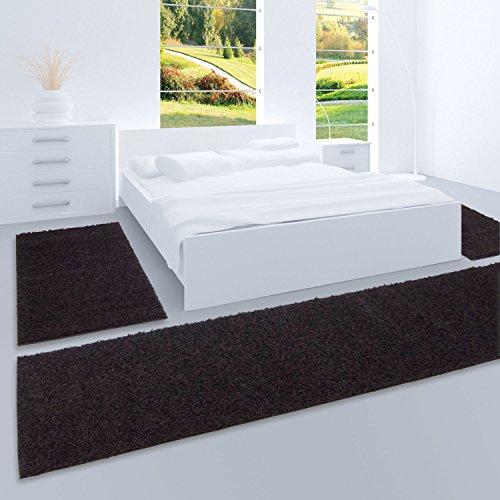 carpet city Shaggy Bettumrandung Hochflor-Teppiche in Schwarz, Einfarbig für Schlafzimmer, 3-Teiliges Läufer-Set: 2X 70x140 cm und 1x 70x250 cm