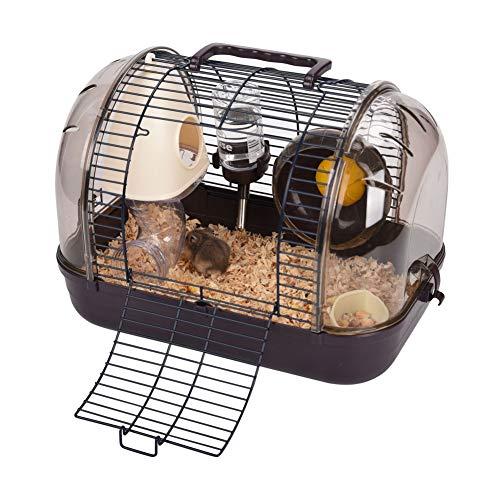 QBLEEV Hamsterkäfig, für kleine Tiere, tragbar, mit Wasserflasche, Futternapf, Laufrad, Rutschrampe, zum Aufhängen, braun -