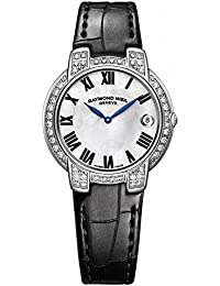 Raymond Weil Jasmine Femme Diamant 35mm Bracelet Cuir Noir Automatique Cadran Nacre Montre 2935-SC2-01970