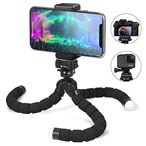 Fotopro Handy Stativ Flexibel Smartphone Stative Kamera Stativ mit Bluetooth Fernbedienung Mini Tripod Handy Halter Halterung für iPhone Samsung Huawei und Action Cam