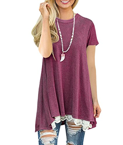 Freestyle Col Rond Pull Haut Dentelle Ourlet T-Shirts Femme Mini Robe Blouse Tunique Tops à Manches Courtes Vin rouge