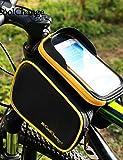 Textiles / Home ZQ bolsa de la parte superior del tubo de dirección delantera marco paseo en bicicleta&doble maleta en bicicleta para el teléfono celular 6.2in, yellow+black