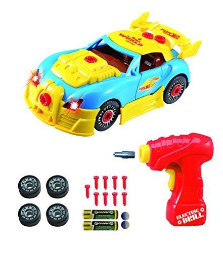 Montage Spielzeug - Set für Kinder -Konstruktionsspielzeug Rennwagen Set für Kinder TG642 – Bau dein eigenes Auto-Set – 30 Einzelteile mit realistischen Geräuschen und Lichtern von ThinkGizmos (geschützte Marke)
