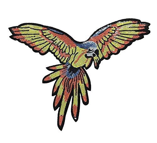 Lumanuby 1x Fliegend Papagei Embroidery Aufbügler Glänzend Vogel Patch Pailletten von Mode Parrot für T-Shirt/Jumper/Jacken, Aufnäher Serie Size 34 * 39.5cm