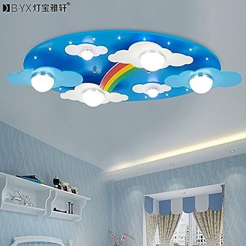 Réchauffer les nuages arc-en-ciel chambres d'enfants éclairage LED lumière plafonnier pour garçons et filles chambre lampe dessin animé 730 * 400 * 120 mm , Blue