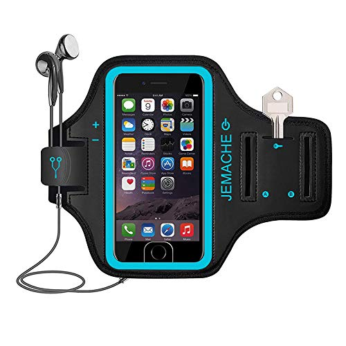 iPhone 7/8 Plus Armband, JEMACHE Fingerabdruck Touch unterstützt Running Training Gym Arm Band Schutzhülle für iPhone 6/6S/7/8 Plus (Blau) (Iphone 6-arm-band)