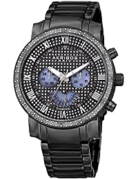 Akribos XXIV Men's AK894BK Quartz Movement Watch with Black Crystal Pave Style Dial with Mother of Pearl Subdials and Black Stainless Steel Strap