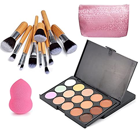 VONISA 15 Color Ultra Contour Kit-Face Contouring and Highlighter Palette-Beauty Cosmetics Cream Makeup Blemish Concealer Palette with Professional 11pcs Bamboo Make Up Brushes Set-Makeup Sponge
