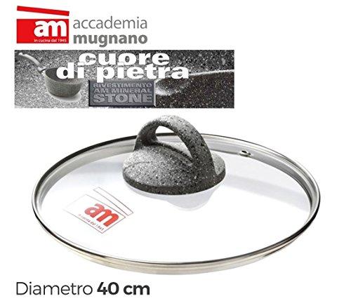 Accademia mugnano coperchio in vetro pentola/poéle-diametro 40cm cuore di pietra-mws2116