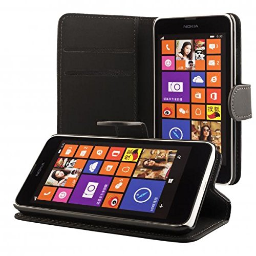 ECENCE Nokia Lumia 630 / 630 Dual SIM / 635 Schutz-Hülle Handy-Tasche Book Case Cover Klapp-Hülle Wallet Book-Style mit Standfunktion Standfuss 41020301