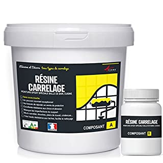 peinture époxy pour mur carrelage cuisine salle de bain résine renovation revêtement mural - RÉSINE CARRELAGE - RAL 9003 Blanc, Kit 1kg jusqu'à 10 m² pour 2 couches