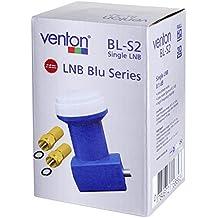 Venton Single LNB LNC Uni Cable Digital (DVB-S2, Full Ultra HD TV, 3d, 4K) participantes Conector satélite equipo de antena Cuenco Receptor de satélite [Color Azul] de multikom (2conectores tipo F + Single LNB BL DVB-S2)