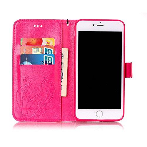 iPhone 7 Plus Custodia, iPhone 7 Plus Custodia Portafoglio, iPhone 7 Plus 5.5 Plus Custodia Pelle, JAWSEU Lusso Diamante 3D Modello Creativo Design PU Leather Wallet Flip Cover Custodia per iPhone 7 P Fiore, Rosa caldo