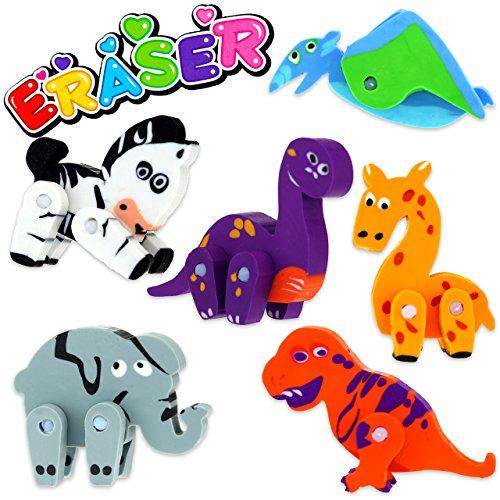 3x Radiergummi Tiere 3D Lustig Schule Tiermotiv Kinder Mitgebsel