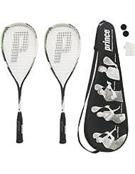 2 x Prince Inspire Set de raqueta de squash con 2 bolas de squash