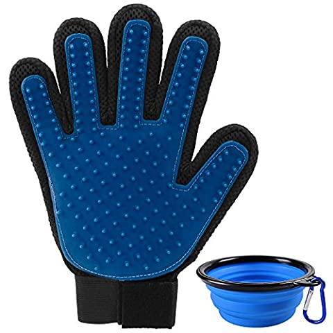 Pet Glove with Collapsible Travel Bowls for