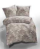 Etérea 2 tlg. Renforcé Bettwäsche Ornamente Zizi - Ganzjahres & 4-Jahreszeiten Bettwäsche-Set - 135x200 + 80x80 cm - Taupe Sand Stucco