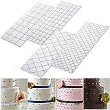 Silicone mold TAOtTAO 4 stücke Grid Transparent Schablone Textur Matte Kuchen Grenze Dekorieren Tool Kuchenform (A)