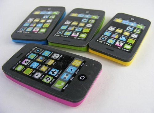 Kawaii iphone Radiergummis (2 Stück) Weiß / Schwarz, und Pink / Schwarz
