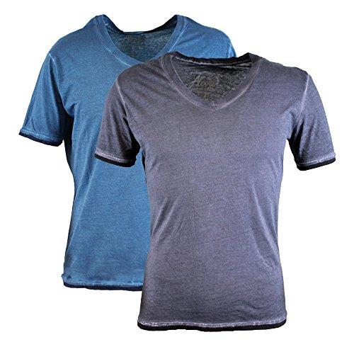 Alcott T-shirt da uomo confezione doppia scollo a V Vintage Acid Wash BluOil-Grey S