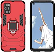 YEESOON Oppo A52 Case, Dual Layer Hybrid Shockproof Protective Case with Ring Stand & Magnetic Car Mount F