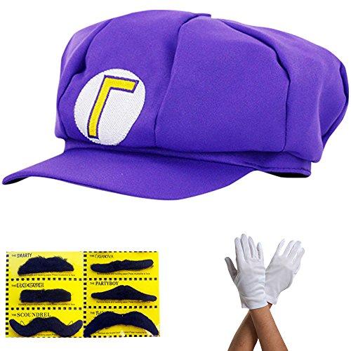 thematys Super Mario Waluigi Mütze - Kostüm für Erwachsene & Kinder in 4 Handschuhe und 6X Klebe-Bart - perfekt für Fasching, Karneval & Cosplay (Waluigi Kostüm Damen)