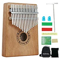 Ankuka Kalimba 17 Keys, Portable Thumb Piano Instrument Mahogany Piano Percussion Accessories with Professional Finger Protection & Instruction Book, for Beginners Adult Kids Christmas Gift