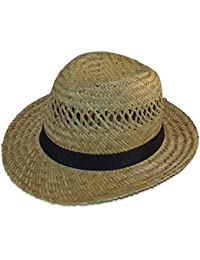 Unisex Natural Straw Summer Trilby/Fedora Hat with a Black Band.