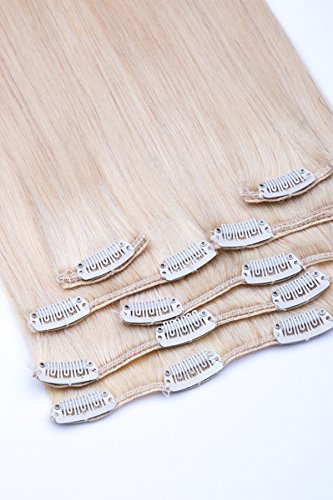 Clip In Extensions Set 100% Echthaar 7 teilig 70g Haarverlängerung 45cm Clip-In Hair Extension Nr. 60 Weißblond