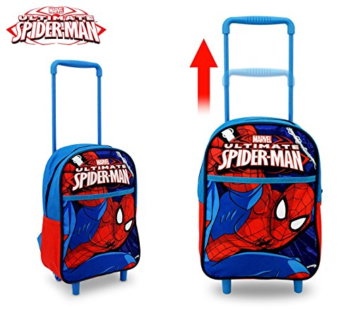 Sp16106 zaino a spalla con trolley spiderman scuola 34x25x15 cm. media wave store