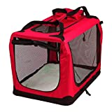 AVC Portable Soft Fabric Pet Carrier Folding Dog Cat Puppy Travel Transport Bag (Large, Red)