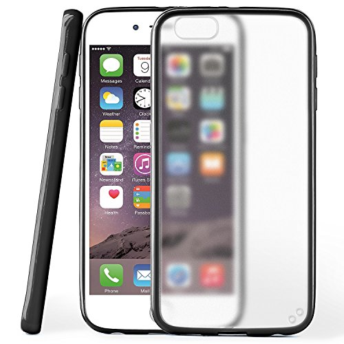 iPhone 6S Hülle Slim Transparent Schwarz [OneFlow Impact Back-Cover] Dünn Schutzhülle Silikon Handy-Hülle für iPhone 6/6S Case TPU Tasche Matt DEEP-BLACK