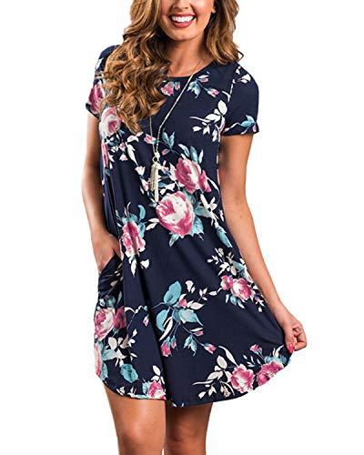 YOINS Sommerkleid Damen Tunika Tshirt Kleid Bluse Kurzarm MiniKleid Boho Maxikleid Rundhals (Kurzarm-Dunkelblau, EU46)