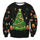 Nawoshow Unisex Familie Hässliche Weihnachtss Sweatshirt Lustige Pullover T-Shirts Sportbekleidung (40-42, Christmas Tree)