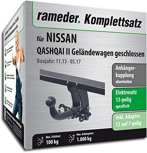Rameder Komplettsatz, Anhängerkupplung abnehmbar + 13pol Elektrik für Nissan Qashqai II Geländewagen geschlossen (117927-11757-1)