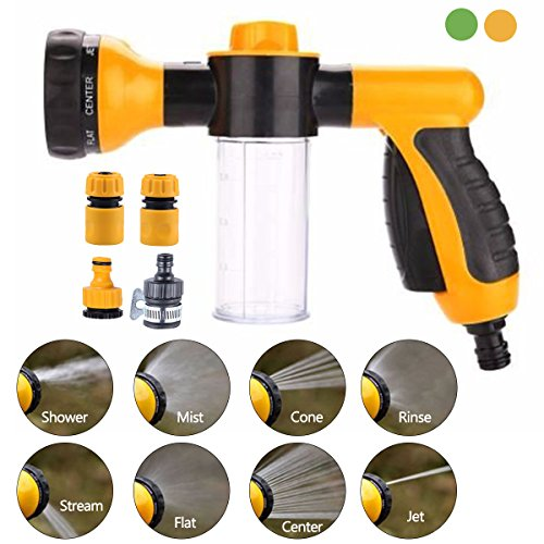 MHBY Garden Hose Nozzle - Multifunctional Foam Water Spray Gun - 8 Adjustable Patterns, Built-in Soap Dispenser, Water Saving - Ideal for Car Washing, Garden/Lawn Watering, Pets Washing (Yellow)