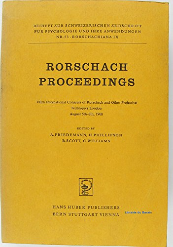 Rorschach proceedings VIIth International Congress of Rorschach and other Projective Techniques London August 5th-8th 1968