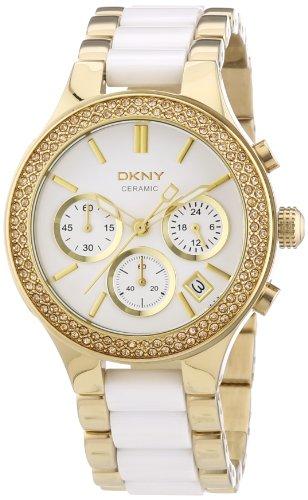 DKNY Broadway Chrono NY8182 - Reloj cronógrafo de cuarzo para mujer, correa de diversos materiales color blanco (cronómetro)