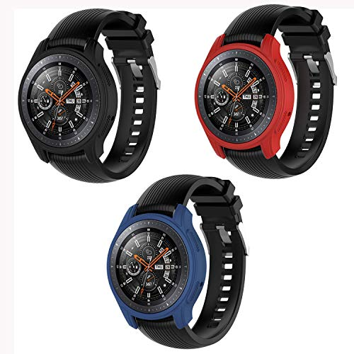 Mwoot 3 Pezzi custodie per Samsung Galaxy Watch 46MM e Samsung Gear S3 Frontier, Anti Graffi Cover Nero/Rosso/Blu-Non per Samsung Galaxy Watch 42MM e Samsung Gear S3 Frontier Classic