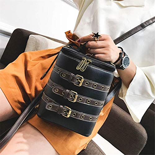 TnXan Casual Daypacks Small Rucksack Mini Bucket Shape Schoolbag Women Vintage Backpack PU Leather Buckle Bag Traveling Backpacks Casual School Bag Aw Belt Pack
