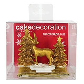 Anniversary House - Christmas Golden Stag and Tree Cake Decoration