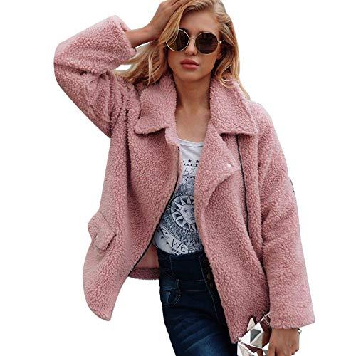 iHENGH Top Damen,Women Herbst Warmer KüNstlicher Wollmantel ReißVerschlussjacke Winter Parka Outerwear Crop Tops Damen Mode
