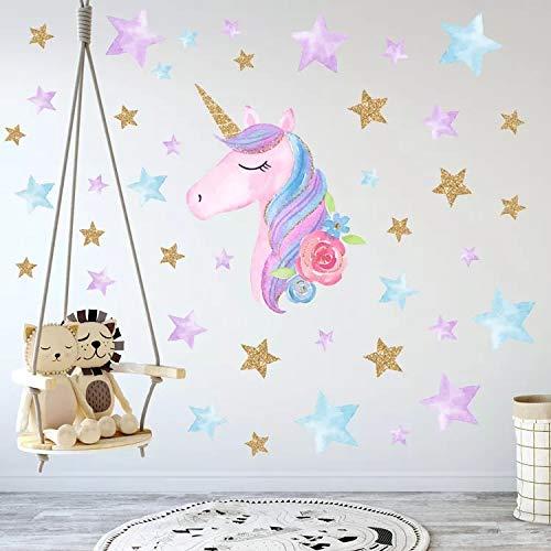 MAFENT Einhorn Wand Aufkleber Regenbogenfarben Wandtattoo Spiegelnde Wand Aufkleber Für Mädchen...