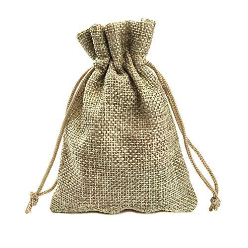 Tomkity lotto di 30 sacchetti iuta con filo elastico coulisse bustine di regalo per festa di matrimonio e mestiere fai da te, 4.5 x 3.5 pollice