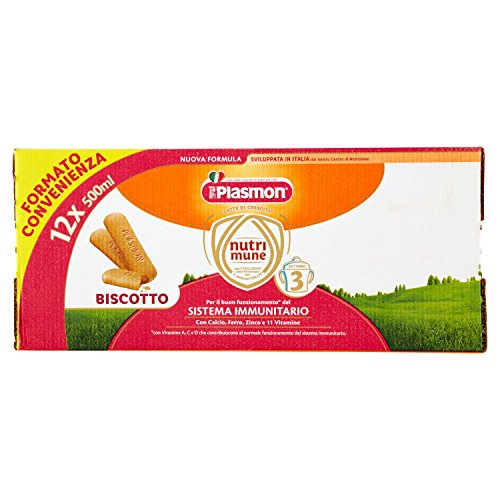 Plasmon Latte Liquido Nutri Mune 3 Biscotto - 12 confezioni da 500 ml - Totale: 6 l