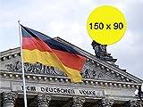 Deutschlandfahne Fanartikel Deutschlandflagge 90x150 cm Flagge, Fahne Deutschland schwarz rot gold mit Metallösen Ösen zum Aufhängen für WM 2018, Fußball Weltmeisterschaft und 1x WM Planer Din A3 mit Spielplan