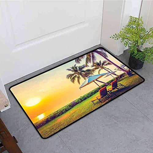inierte Fußmatte, Seaside leeren Regenschirm und Stühle am Strand Palmen in der Dämmerung Mal Urlaub Thema anpassen Fußmatten für Home Mat, Multicolor Badematte ()
