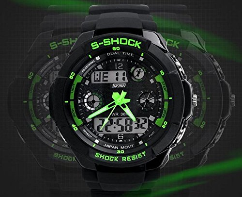 Nimble House Nimble House Green dial Sport Quartz dual time digital analog Waterproof Military Wristwatches