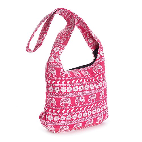 Allaccessories, Borsa a spalla donna Pink Union Jack flag Pink and White Elephant Print