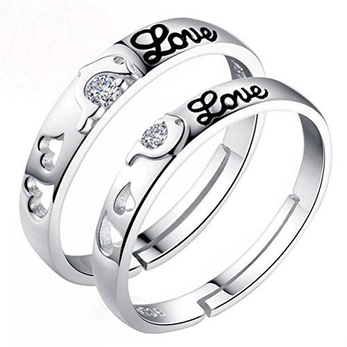 Monbedos 2x coppia anelli anello amore san valentino, anniversari di matrimonio